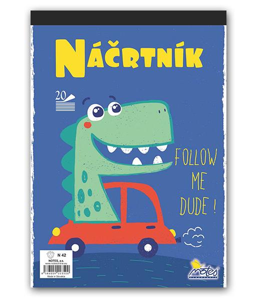 Náčrtník N42 • 20 listový • Dino v aute