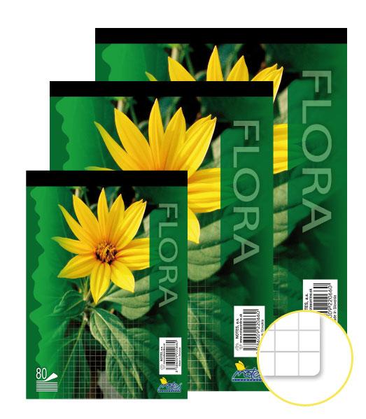Poznámkový blok • 80 listový • štvorčekovaný 5×5 mm • FLÓRA
