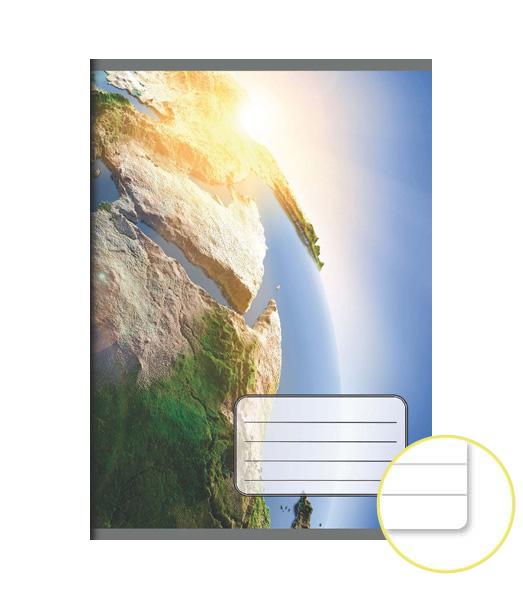 Zošit 544 EXTRA – 40 listový – linkovaný 8 mm s okrajom – 3D Zem
