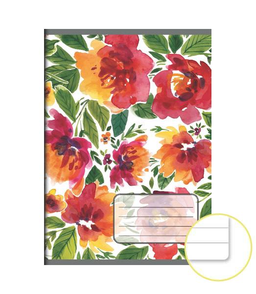 Zošit 544 EXTRA – 40 listový – linkovaný 8 mm s okrajom – Kvety