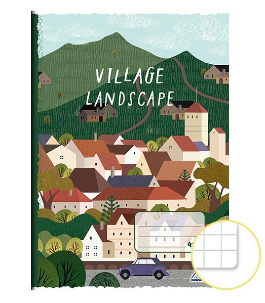 Zošit 425 • A4 • 20 listový • štvorčekovaný 5×5 mm • Village Landscape