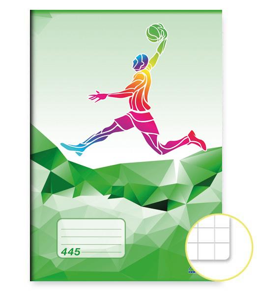 Zošit 445 • 40 listový • štvorčekovaný 5×5 mm •  ŠPORT Basket zelený