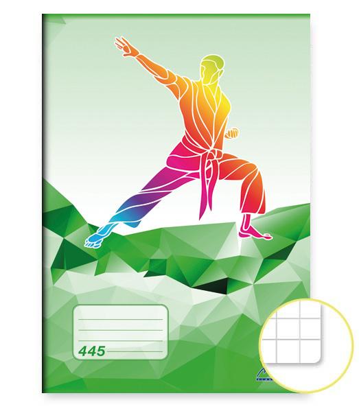 Zošit 445 • 40 listový • štvorčekovaný 5×5 mm • ŠPORT Karate zelený