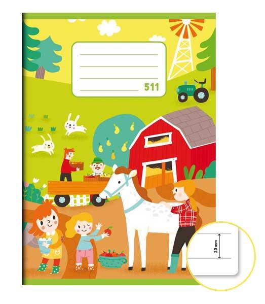 Zošit 511 • 10 listový • linkovaný 20 mm  • Farmári