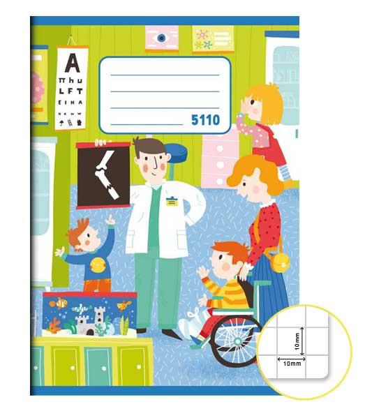 Zošit 5110 • 10 listový • štvorčekovaný 10×10 mm • Nemocnica