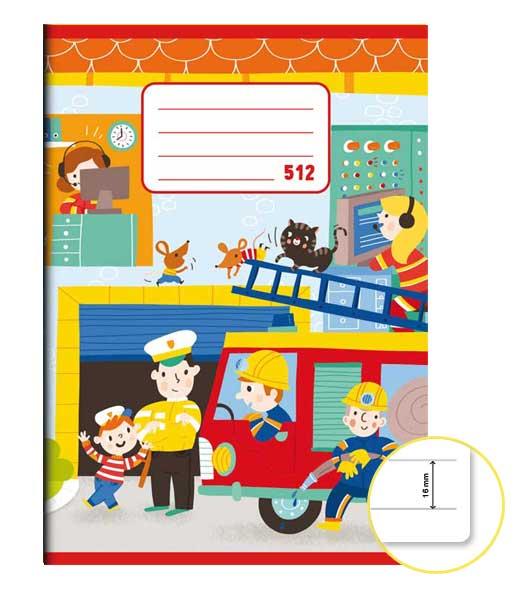 Zošit 512 • 10 listový • linkovaný 16 mm • Požiarnici