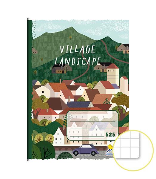 Zošit 525 • A5 • 20 listový • štvorčekovaný 5×5 mm • Village Landscape