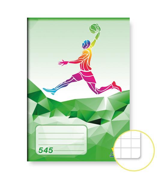 Zošit 545 • 40 listový • štvorčekovaný 5×5 mm • ŠPORT Basket zelený