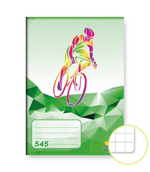 Zošit 545 • 40 listový • štvorčekovaný 5×5 mm •  ŠPORT Cyklistika zelený
