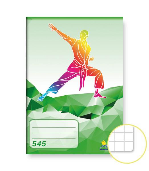Zošit 545 • 40 listový • štvorčekovaný 5×5 mm • ŠPORT Karate zelený