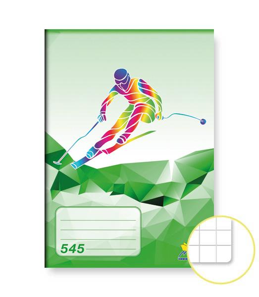 Zošit 545 • 40 listový • štvorčekovaný 5×5 mm • ŠPORT Lyžovanie zelený