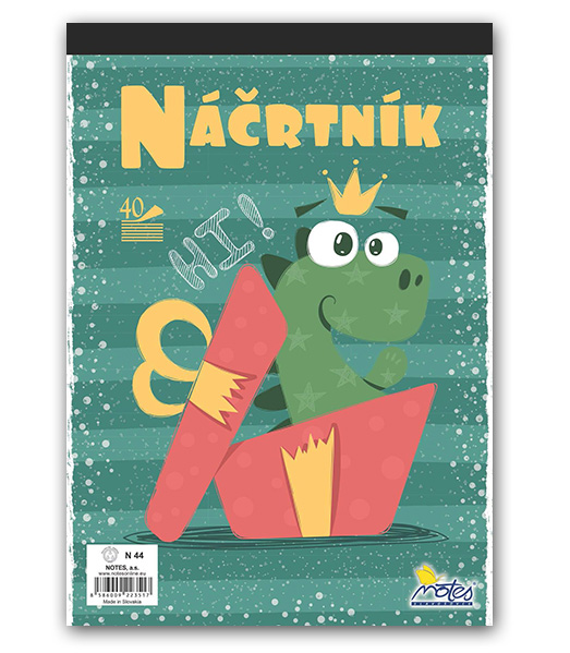 Náčrtník N44 • 40 listový • Dino v darčeku