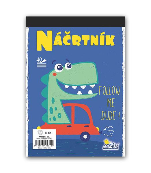 Náčrtník N54• 40 listový • Dino v aute