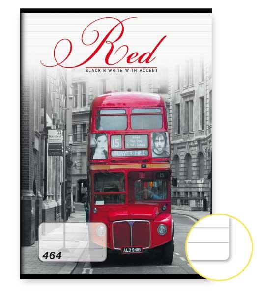 Zošit 464 • 60 listový • linkovaný 8mm • Red