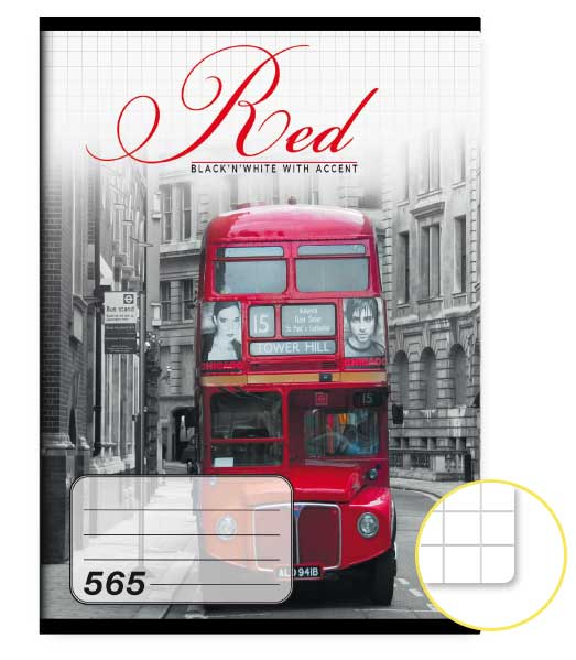 Zošit 565 • 60 listový • štvorčekovaný 5×5 mm  • Red