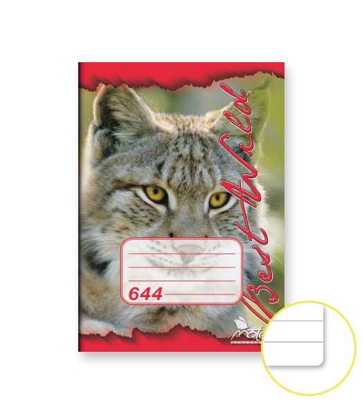 Zošit 644 • 40 listový • linkovaný 8 mm • ZOO Rys červený