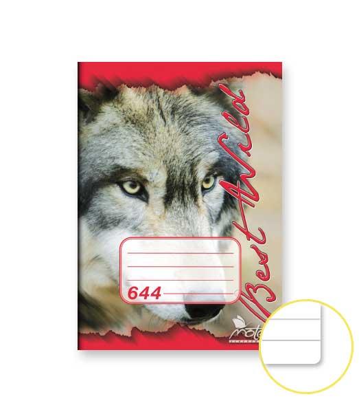 Zošit 644 • 40 listový • linkovaný 8 mm • ZOO Vlk červený