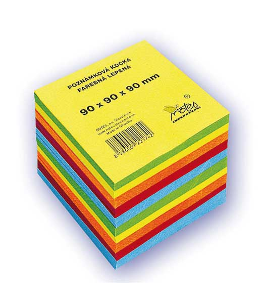Poznámková kocka L909090/5F • z farebných papierov • lepená veľká
