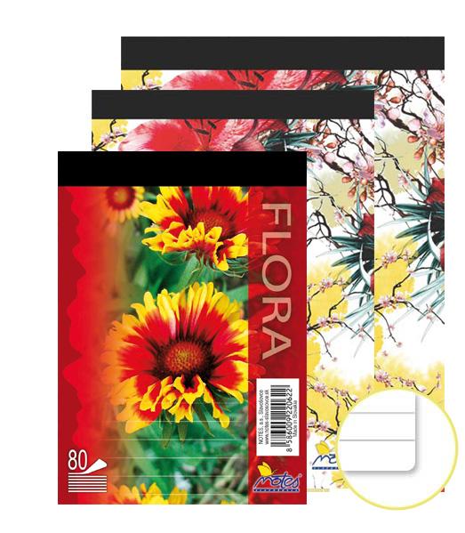 Poznámkový blok • 80 listový • linkovaný 8 mm • Kvety