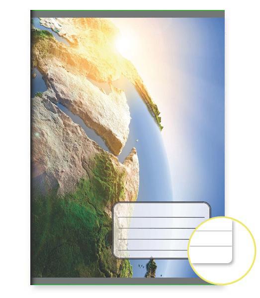 Zošit 444 EXTRA – 40 listový – linkovaný 8 mm s okrajom – 3D Zem